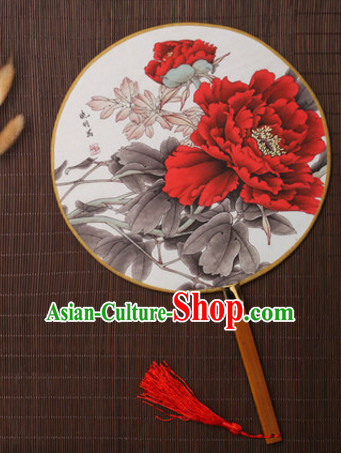 Ancient Chinese Classic Handmade Flower Palace Fan Round Fan Mandarin Fan Gong Shan Dance Fan