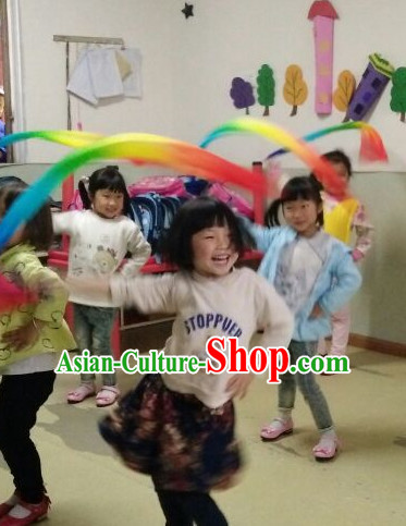 Pure Silk Handmade Children Use Kids Rainbow Color Dance Ribbon