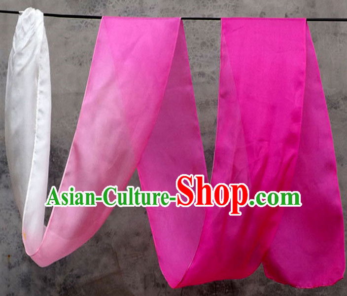Top 3 Meters Pure Silk White to Pink Color Changing Colr Change Dance Ribbon Dancing Ribbons