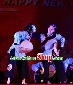 Chinese Grandmother and Fan Dancewear Costumes Dancer Costumes Girls Dance Costumes Chinese Dance Clothes Traditional Chinese Clothes