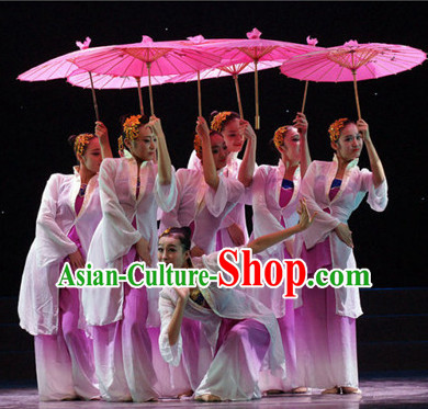 Chinese Classical Dancewear Costumes Dancer Costumes Girls Dance Costumes Chinese Dance Clothes Traditional Chinese Clothes and Umbrella Complete Set