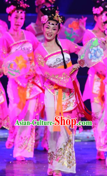 Chinese Classical Dancing Outfits Dancewear Costumes Dancer Costumes Girls Dance Costumes Chinese Dance Clothes Traditional Chinese Clothes and Headwear Complete Set