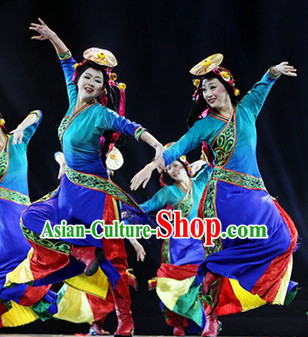 Chinese Traditional Tibetan Dancing Outfits Dancewear Costumes Dancer Costumes Girls Dance Costumes Chinese Dance Clothes Traditional Chinese Clothes Complete Set for Women