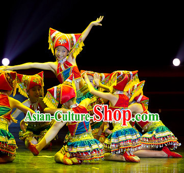 Chinese Traditional Ethnic Zhuang Dance Dress Dancewear Costumes Dancer Costumes Dance Costumes Chinese Dance Clothes Traditional Chinese Clothes Complete Set for Kids