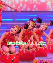 Chinese Traditional New Year Dance Dress Dancewear Costumes Dancer Costumes Dance Costumes Chinese Dance Clothes Traditional Chinese Clothes Complete Set for Kids