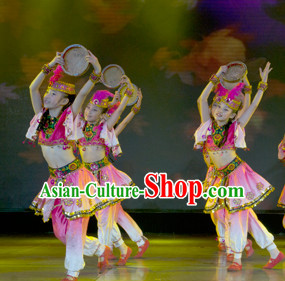 Chinese Traditional Xinijang Dance Dress Dancewear Costumes Dancer Costumes Dance Costumes Chinese Dance Clothes Traditional Chinese Clothes Complete Set for Kids