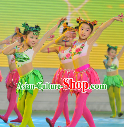 Chinese Traditional Festival Stage Fan Dance Dress Dancewear Costumes Dancer Costumes Dance Costumes Chinese Dance Clothes Traditional Chinese Clothes Complete Set for Kids