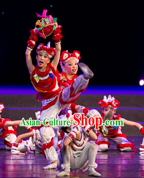 Chinese Traditional Festival Stage Lion Dancing Dress Dancewear Costumes Dancer Costumes Dance Costumes Chinese Dance Clothes Traditional Chinese Clothes Complete Set for Kids