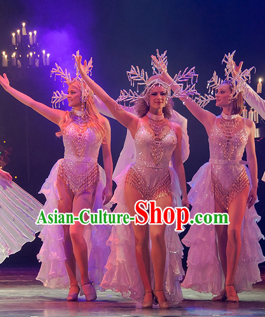 Christmas Celebration Dancing Dancewear Costumes Dancer Costumes Dance Costumes Chinese Dance Clothes Traditional Chinese Clothes Complete Set for Women