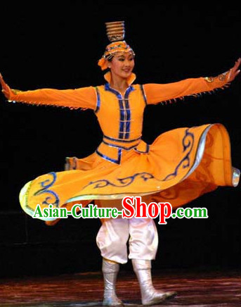Chinese Stage Mongolian Dancing Dancewear Costumes Dancer Costumes Dance Costumes Chinese Dance Clothes Traditional Chinese Clothes Complete Set for Women Kids