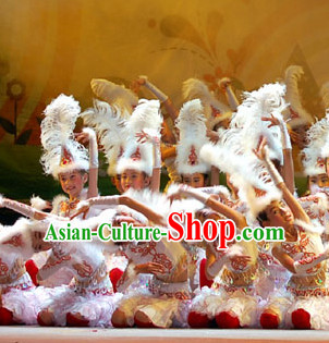 Chinese Stage Ethnic Dancing Dancewear Costumes Dancer Costumes Dance Costumes Chinese Dance Clothes Traditional Chinese Clothes Complete Set for Women Kids
