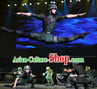 Chinese Stage Army Dancing Dancewear Costumes Dancer Costumes Dance Costumes Chinese Dance Clothes Traditional Chinese Clothes Complete Set for Men Kids