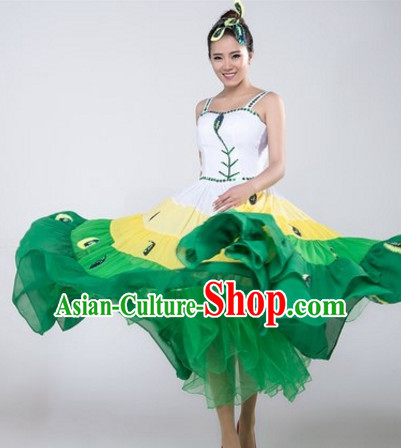 Chinese Stage Jasmine Flower Dancewear Costumes Dancer Costumes Dance Costumes Chinese Dance Clothes Traditional Chinese Clothes Complete Set for Women Children