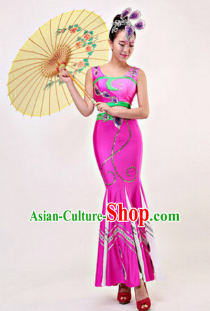 Chinese Stage Dai Minority Ethnic Dancewear Costumes Dancer Costumes Dance Costumes Chinese Dance Clothes Traditional Chinese Clothes Complete Set for Women Children