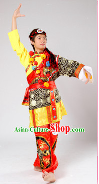 Chinese Traditional Stage Fan Dance Dancewear Costumes Dancer Costumes Dance Costumes Clothes and Headdress Complete Set for Men Children