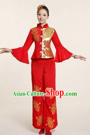 Chinese Traditional Stage Folk Dance Dancewear Costumes Dancer Costumes Dance Costumes Clothes and Headdress Complete Set for Children