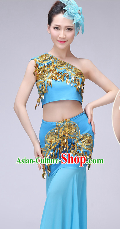 Chinese Traditional Stage Dai Minority Ethnic Dance Dancewear Costumes Dancer Costumes Dance Costumes Clothes and Headdress Complete Set for Women