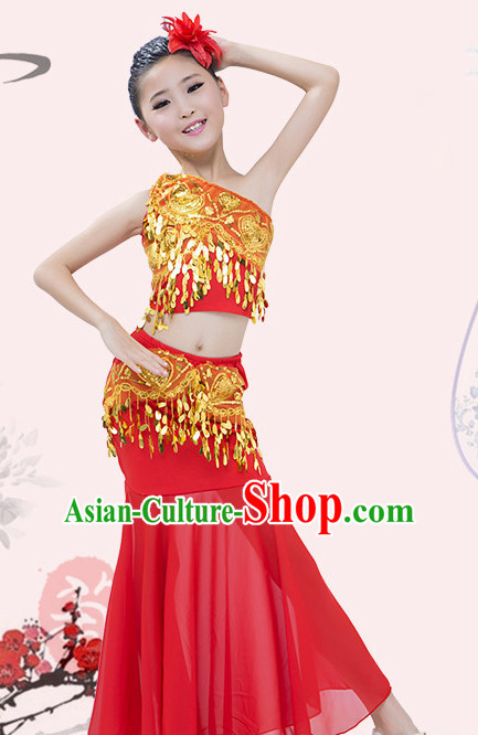 Red Chinese Traditional Stage Dai Minority Ethnic Peacock Dance Dancewear Costumes Dancer Costumes Dance Costumes Clothes and Headdress Complete Set for Girls Kids