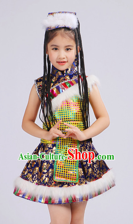 Chinese Traditional Stage Tibetan Minority Ethnic Dance Dancewear Costumes Dancer Costumes Dance Costumes Clothes and Headdress Complete Set for Girls Kids