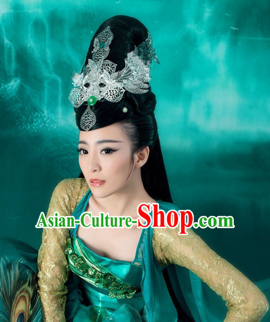 Chinese Classical Princess Silver Headwear Headwear and Long Wigs