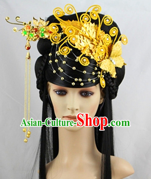 Chinese Classical Princess Gold Headwear Headdress and Long Wigs