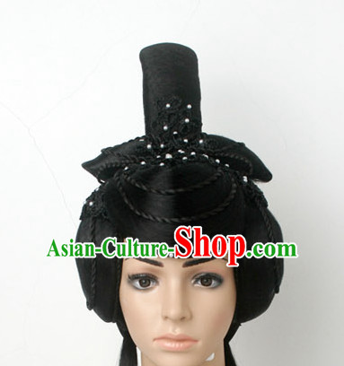 Chinese Ancient Classical Dancer Hair Jewelry Headwear Headdress and Long Wigs