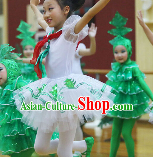 Chinese Traditional Primary School Dance Costumes Complete Set for Kids