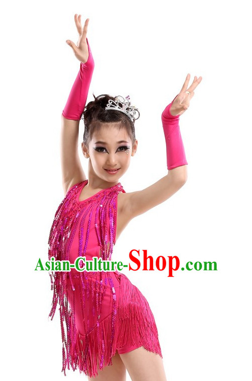 School Modern Latin Dance Costumes Complete Set for Kids Girls
