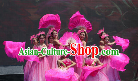 Traditional Asian Chinese Pink Flower Dancing Costumes Complete Set for Women