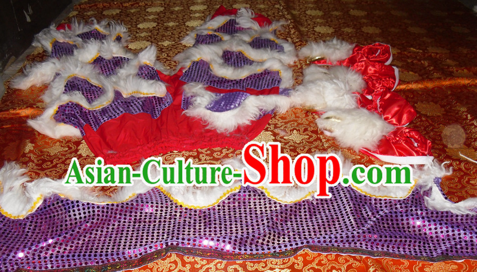 Puprle Color White Wool Top Asian Chinese Troupe Performance 2 Pairs of Lion Dance Pants and Claws
