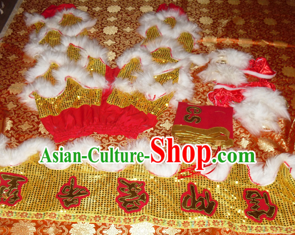 Gold Color White Wool Top Asian Chinese Troupe Performance 2 Pairs of Lion Dance Pants and Claws