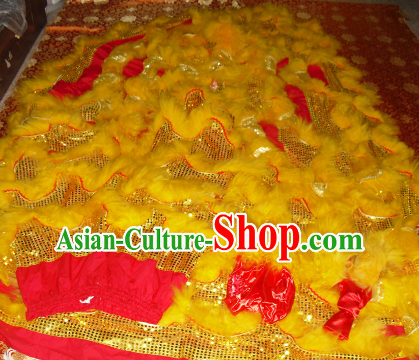 Red Color Gold Wool Top Asian Chinese Lion Dance Pants Claws Tail Body Costumes Set