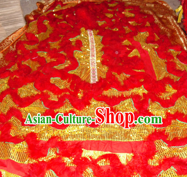 Gold Color Red Wool Top Asian Chinese Lion Dance Pants Claws Tail Body Costumes Set