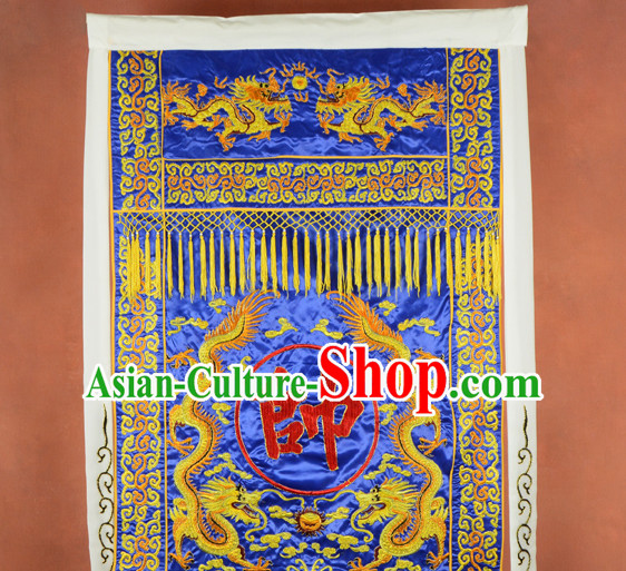 Blue Ancient Chinese Classical Superhero General Banner Flag
