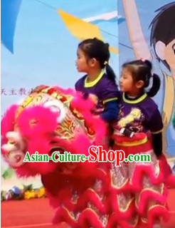 Peachblow Color Top 100_ Natural Long Wool Primary School Middle School Lion Dance Costumes Complete Set for Kids Children Boys Girls