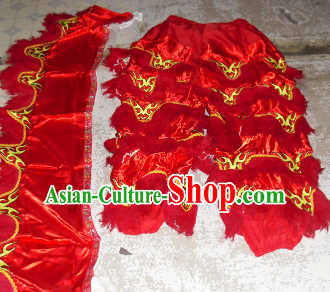 Red Top Asian Chinese New Year Performance 2 Pairs of Lion Dance Pants and Claws