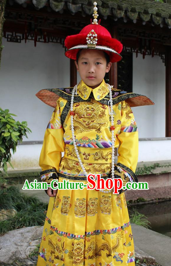 Qing Dynasty Chinese Emperor Embroidered Dragon Robe Hanfu Dresses Garment and Crown Complete Set for Boys Children Kids