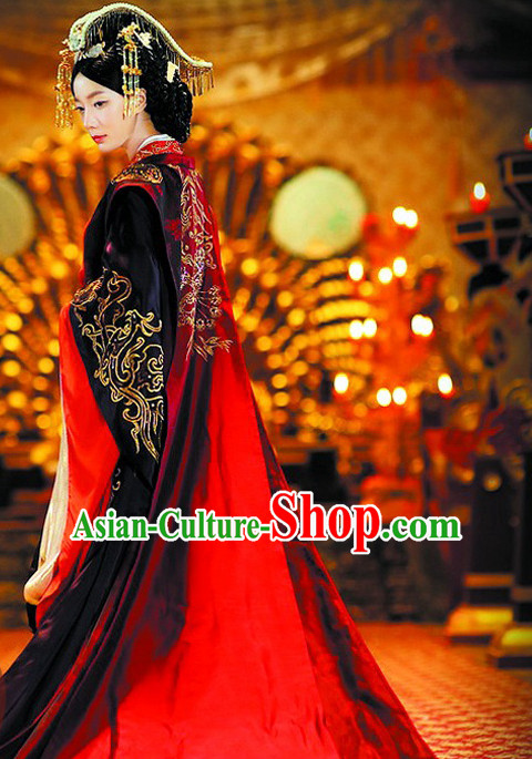 Chinese Ancient Female Empress Wedding Dresses and Hair Jewelry Complete Set for Women or Girls