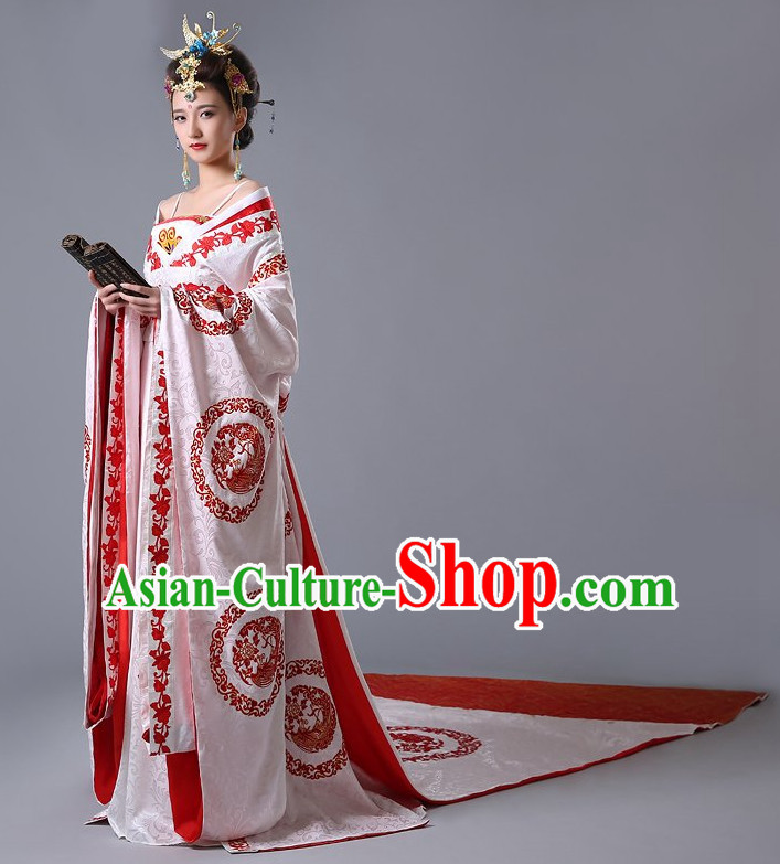 Chinese Ancient Female Empress Wedding Garment and Hair Jewelry Complete Set for Women or Girls