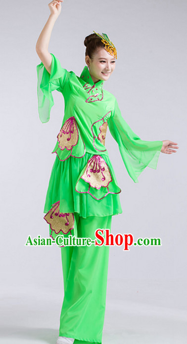 Green Chinese Folk Fan Dance Costumes and Headdress Complete Set for Women