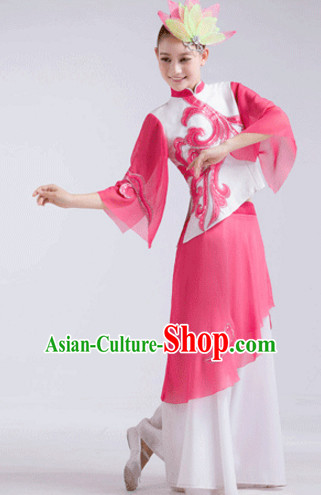 Pink Chinese Folk Fan Dancewear and Headdress Complete Set for Women