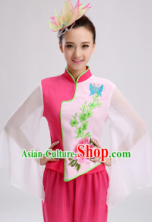 Pink Chinese Folk Fan Dancing Costumes and Headdress Complete Set for Women