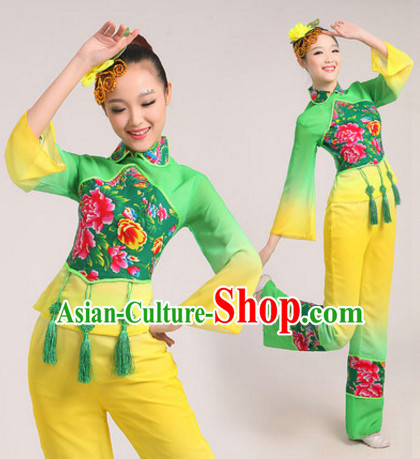 Light Green Chinese Traditional Fan Dance Costumes Dancing Outfits for Women or Girls