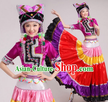 Purple Chinese Traditional Ethnic Minority Dance Costumes Dancing Outfits and Hat Complete Set for Women or Girls