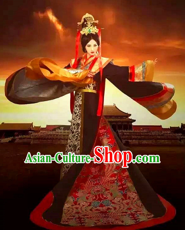 Chinese Ancient Female Empress Clothes and Headdress Complete Set for Women or Girls