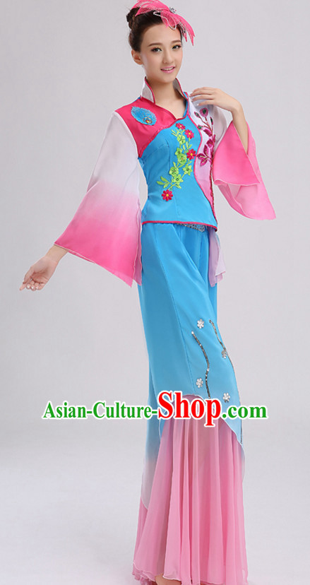 Blue Chinese Folk Fan Dancing Costumes and Headdress Complete Set for Women