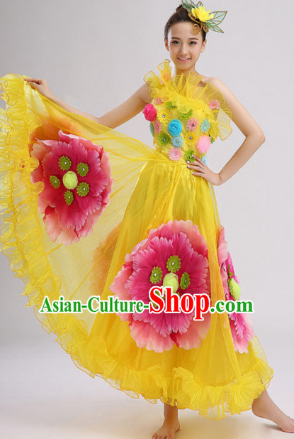 Yellow Chinese Folk Flower Dancing Costumes and Headdress Complete Set for Women