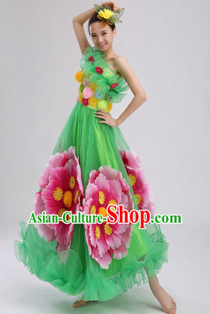 Green Chinese Folk Peony Flower Dance Costumes and Headdress Complete Set for Women