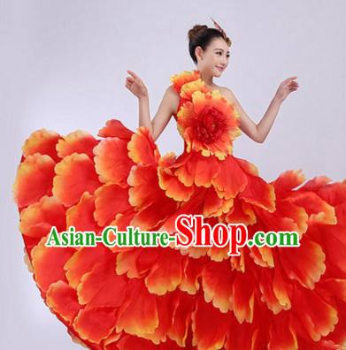 Red Chinese Stage Performance Flower Dancewear Costume and Headdress Complete Set for Women