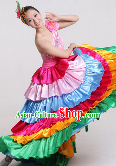 Chinese Flower Dance Costumes and Headdress Complete Set for Women
